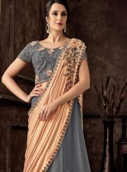 Grey Reception Tafeta Silk Lehenga Style Saree