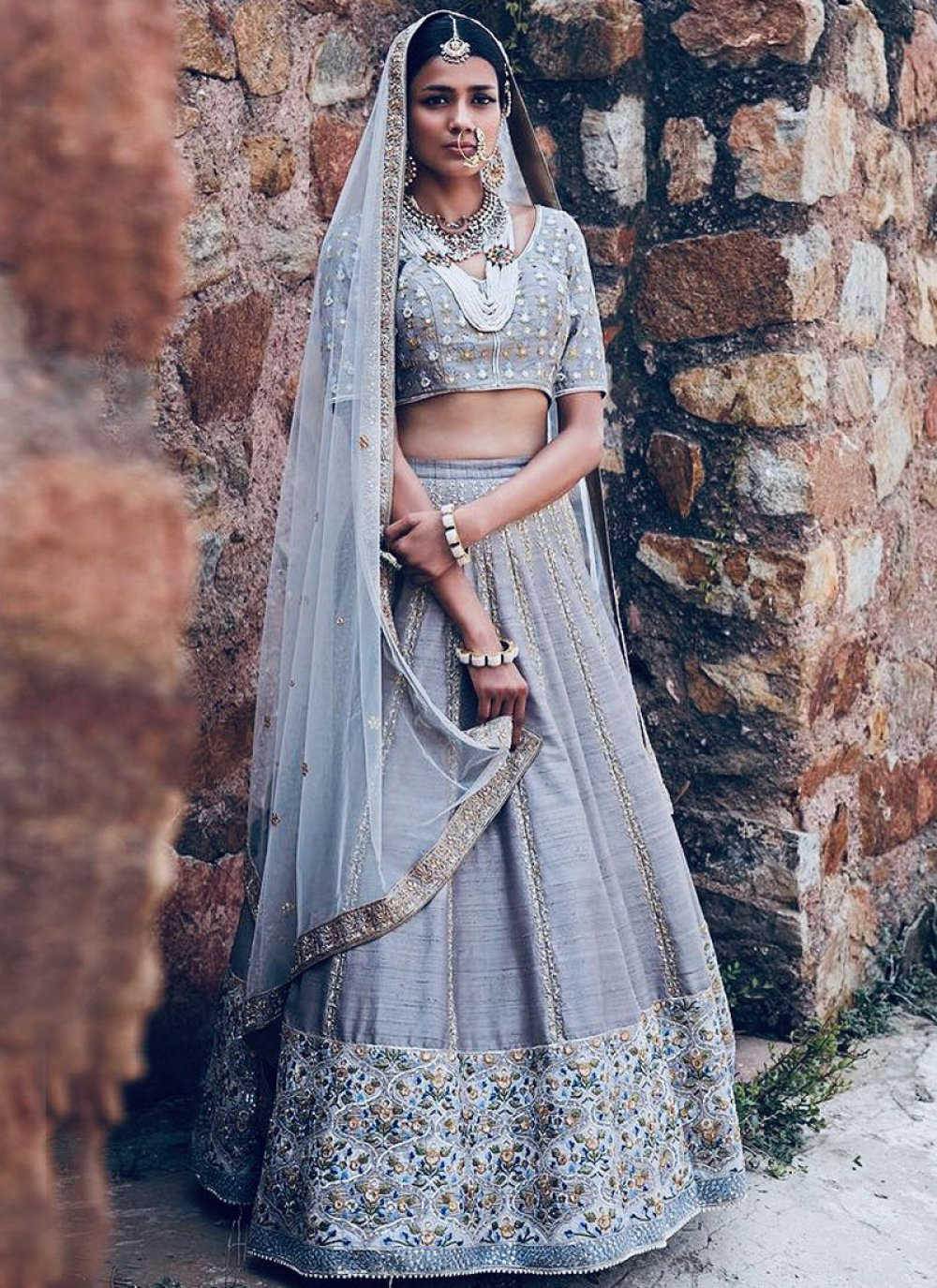 Grey Resham Bridal Lehenga Choli