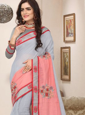 Grey Resham Cotton Silk Trendy Saree