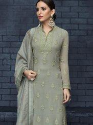 Grey Resham Designer Salwar Kameez