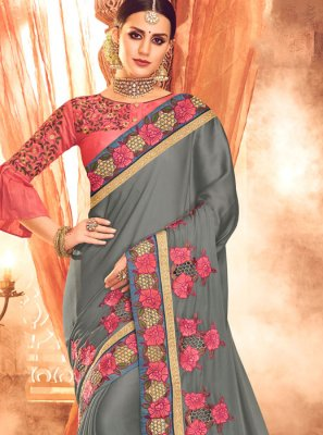 Grey Resham Designer Saree