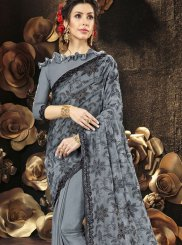 Grey Resham Faux Georgette Saree
