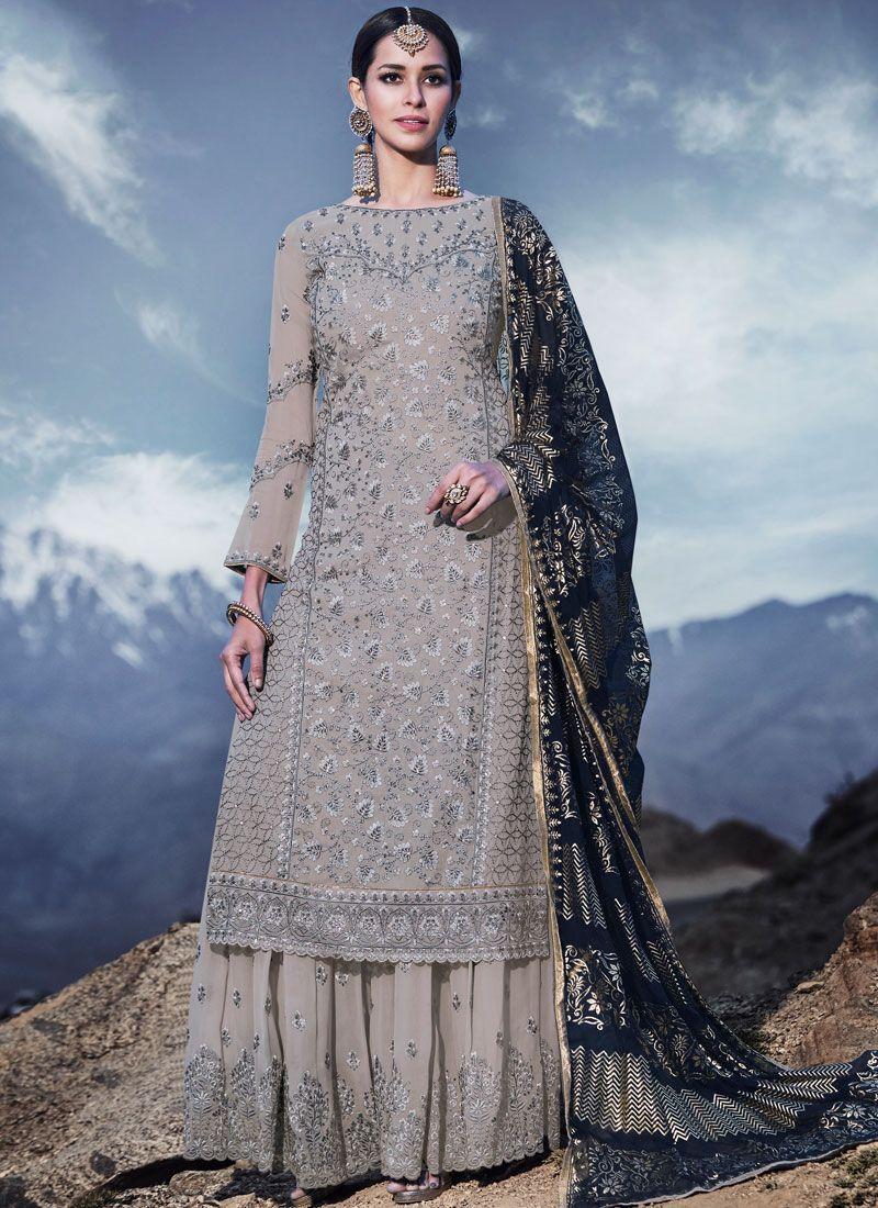 Grey Resham Festival Designer Palazzo Suit
