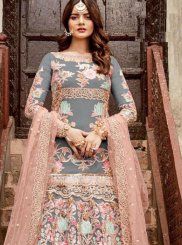 Grey Resham Floor Length Anarkali Suit