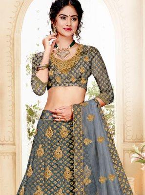 Grey Resham Jacquard Silk Trendy A Line Lehenga Choli
