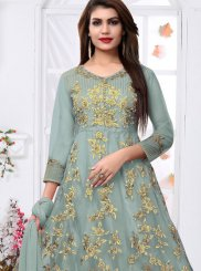 Grey Resham Net Ankle Length Designer Suit
