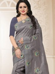 Grey Resham Traditional Saree