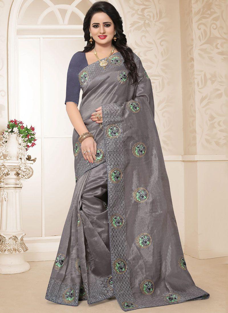 Grey Resham Traditional Saree