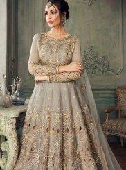 Grey Sangeet Net Designer Lehenga Choli