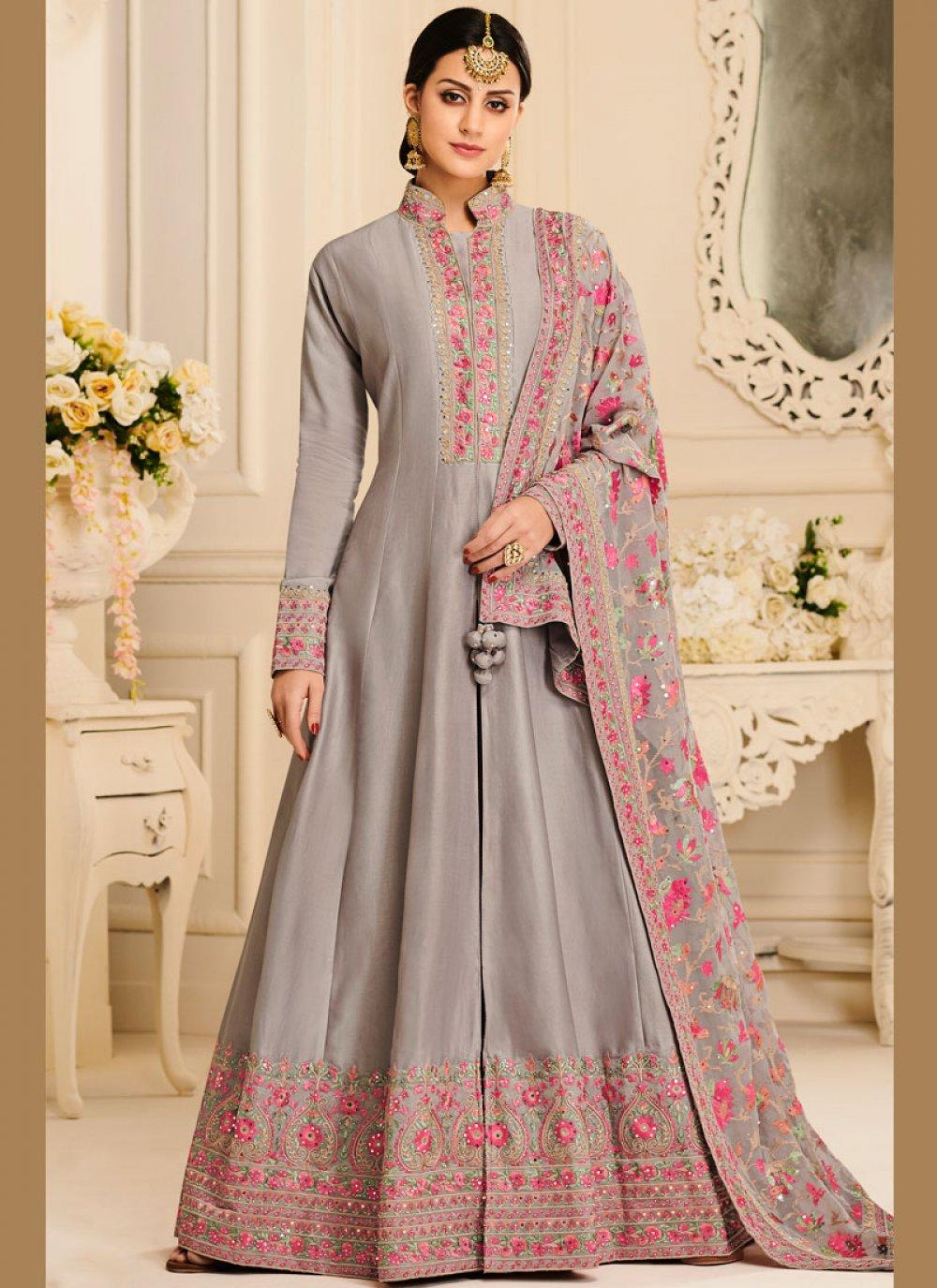 Grey Satin Silk Embroidered Anarkali Salwar Kameez
