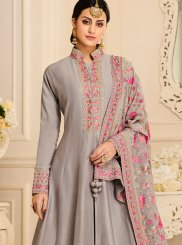 Grey Satin Silk Embroidered Anarkali Salwar Kameez
