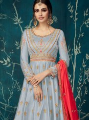 Grey Satin Silk Party Anarkali Salwar Suit