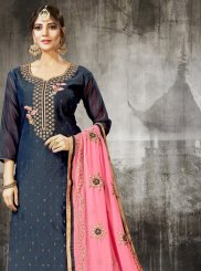 Grey Silk Churidar Designer Suit