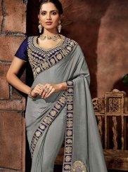 Grey Silk Thread Designer Saree