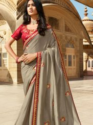 Grey Silk Trendy Saree