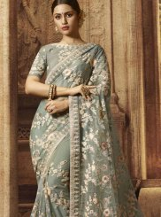 Grey Stone Work Reception Designer Traditional Saree