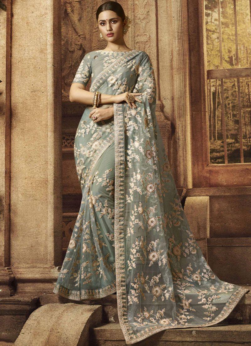 Grey Stone Work Reception Designer Traditional Saree