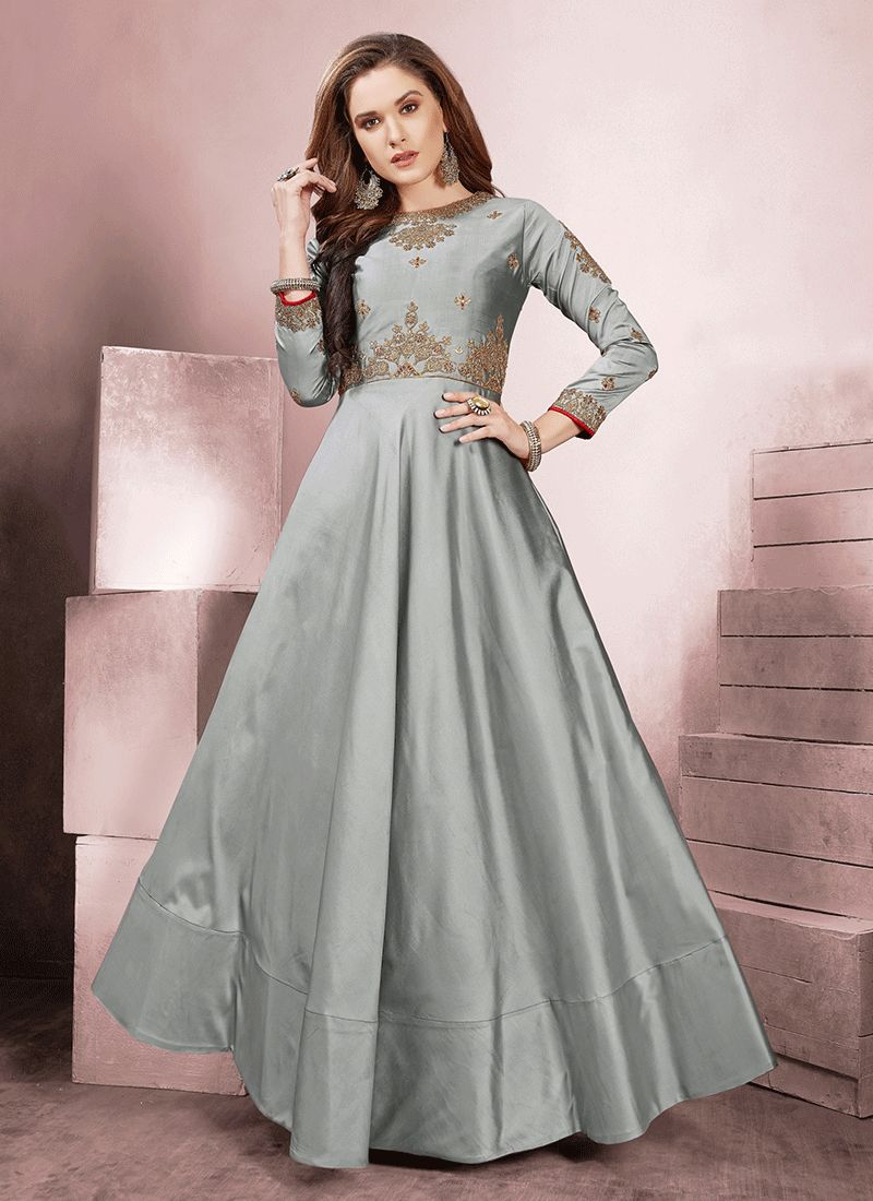 Grey Tafeta Silk Readymade Gown