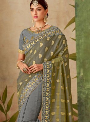 Grey Traditional Designer Saree