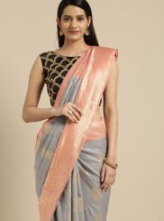 Grey Tussar Silk Casual Saree