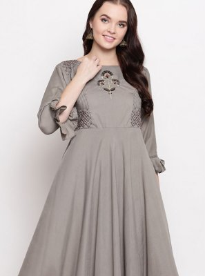 Grey Viscose Casual Kurti