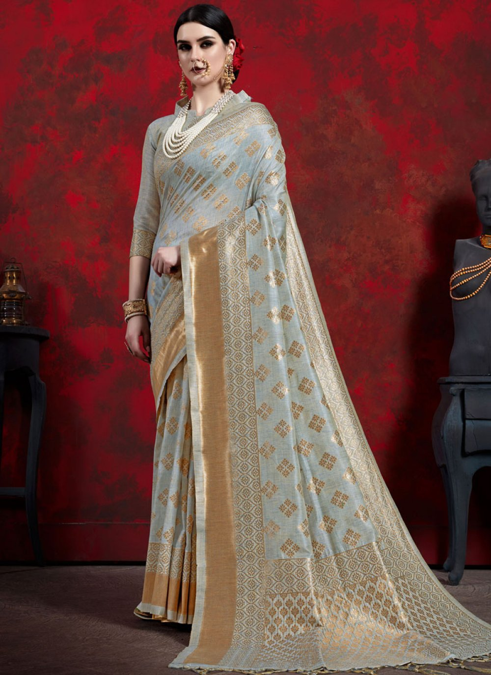 Grey Weaving Art Silk Classic Designer Saree