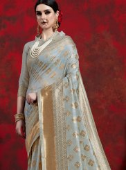 Grey Weaving Art Silk Classic Designer Saree