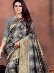 Grey Weaving Art Silk Designer Traditional Saree
