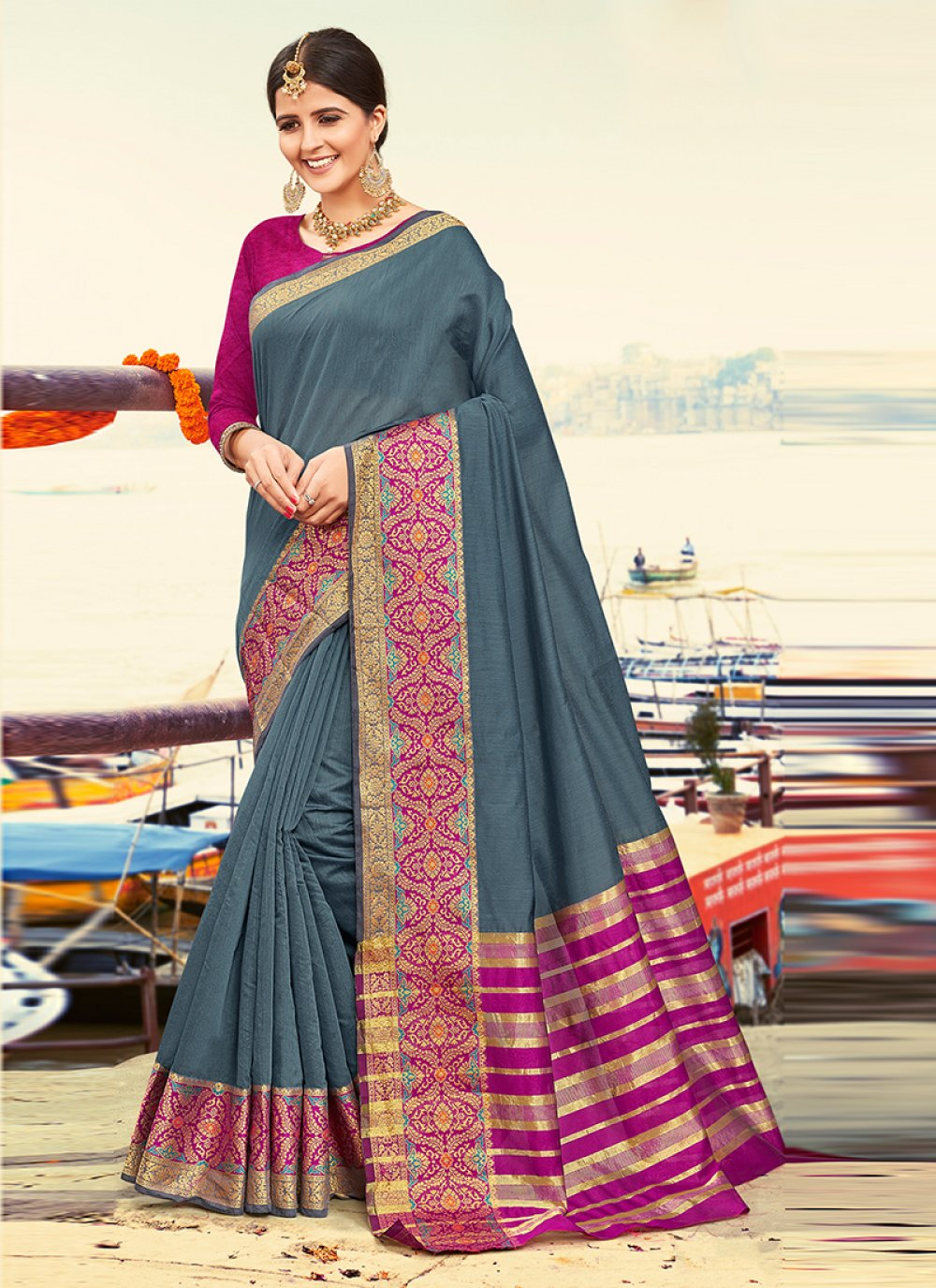 Grey Weaving Art Silk Designer Traditional Saree