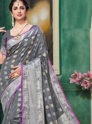 Grey Weaving Art Silk Traditional Designer Saree