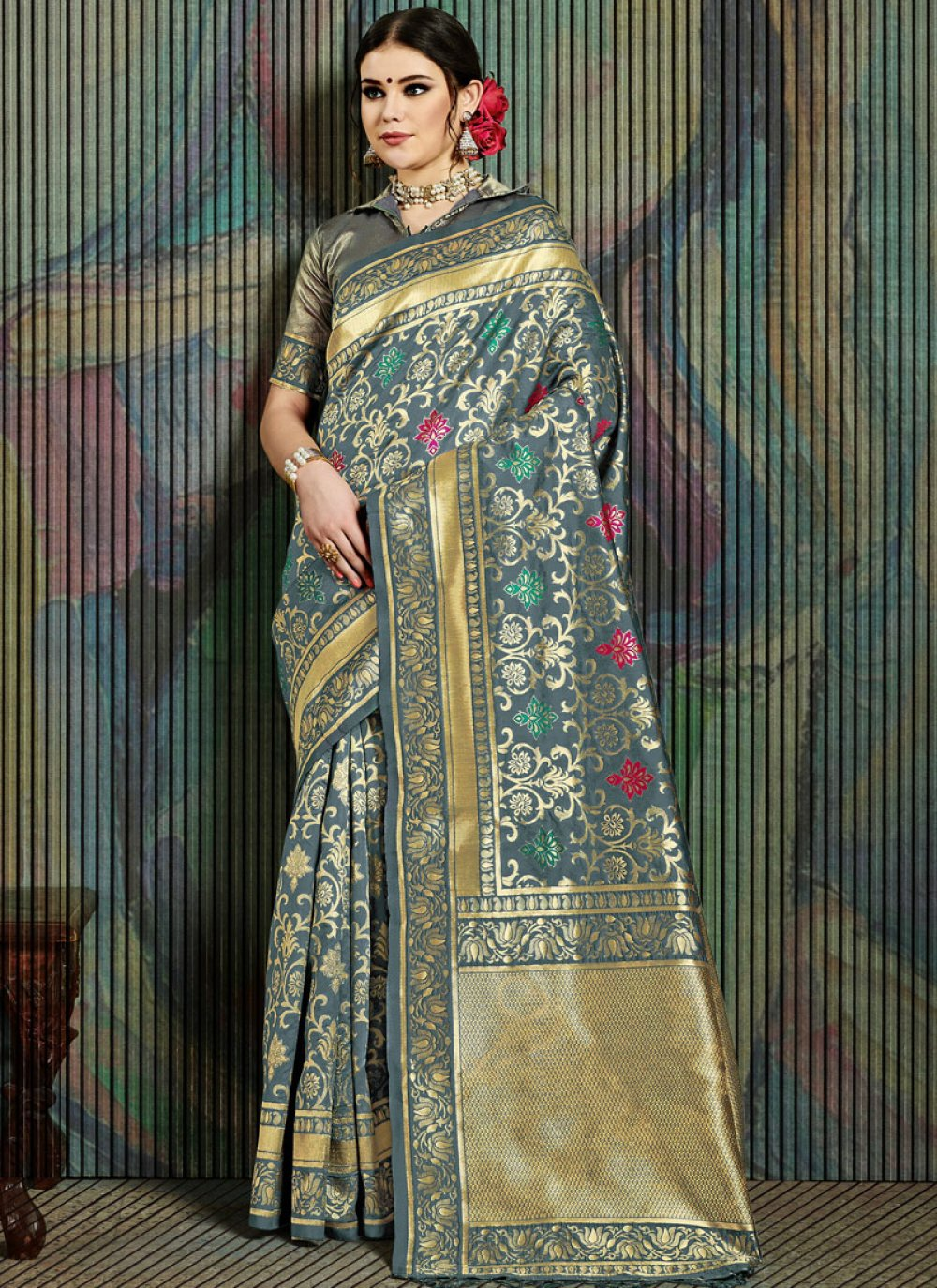 Grey Weaving Art Silk Traditional Saree