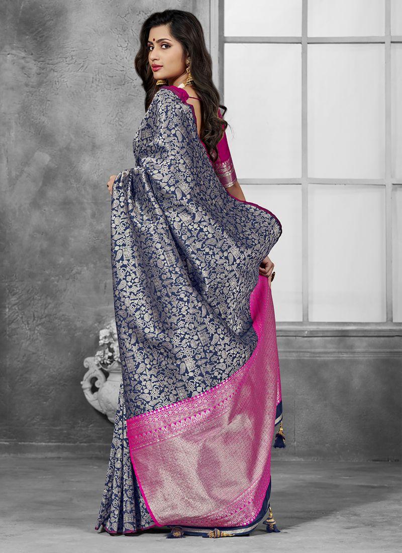 Grey Weaving Festival Designer Traditional Saree