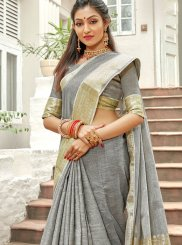 Grey Weaving Party Trendy Saree
