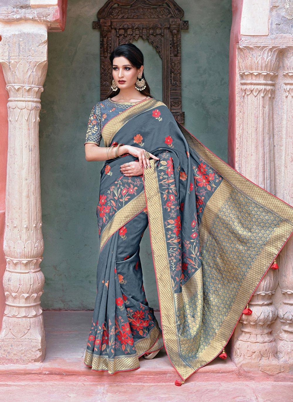 Grey Weaving Traditional Designer Saree