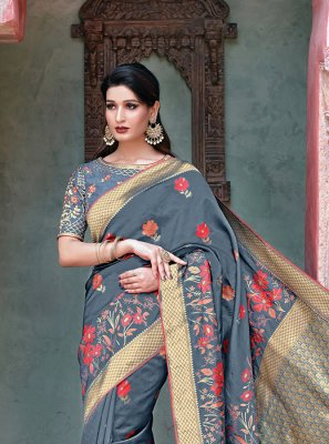 Grey Weaving Traditional Designer Saree