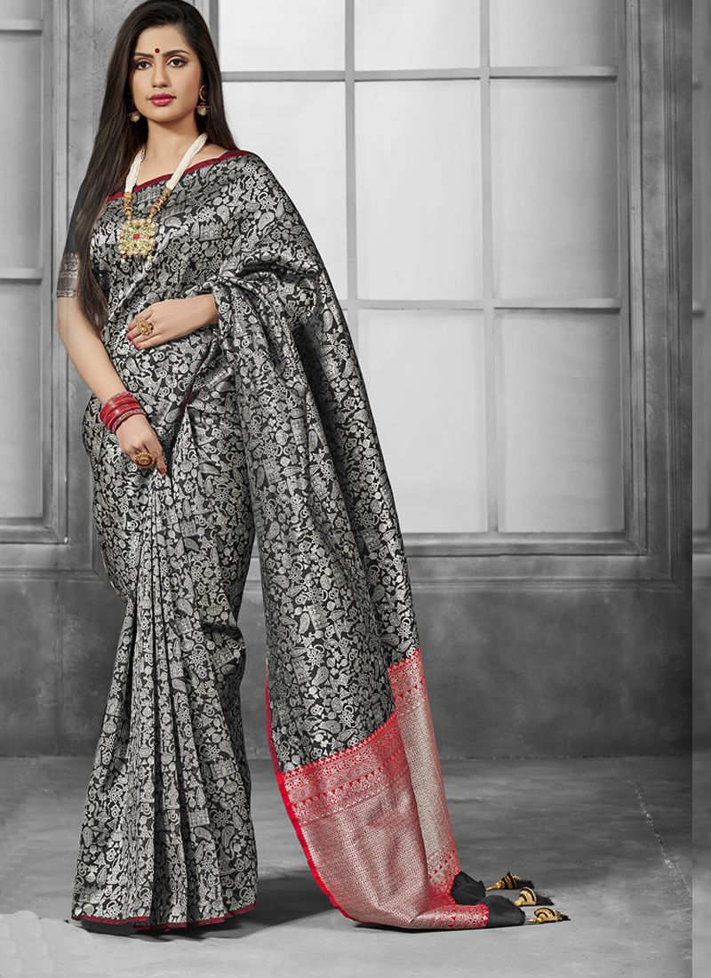 Grey Weaving Traditional Saree
