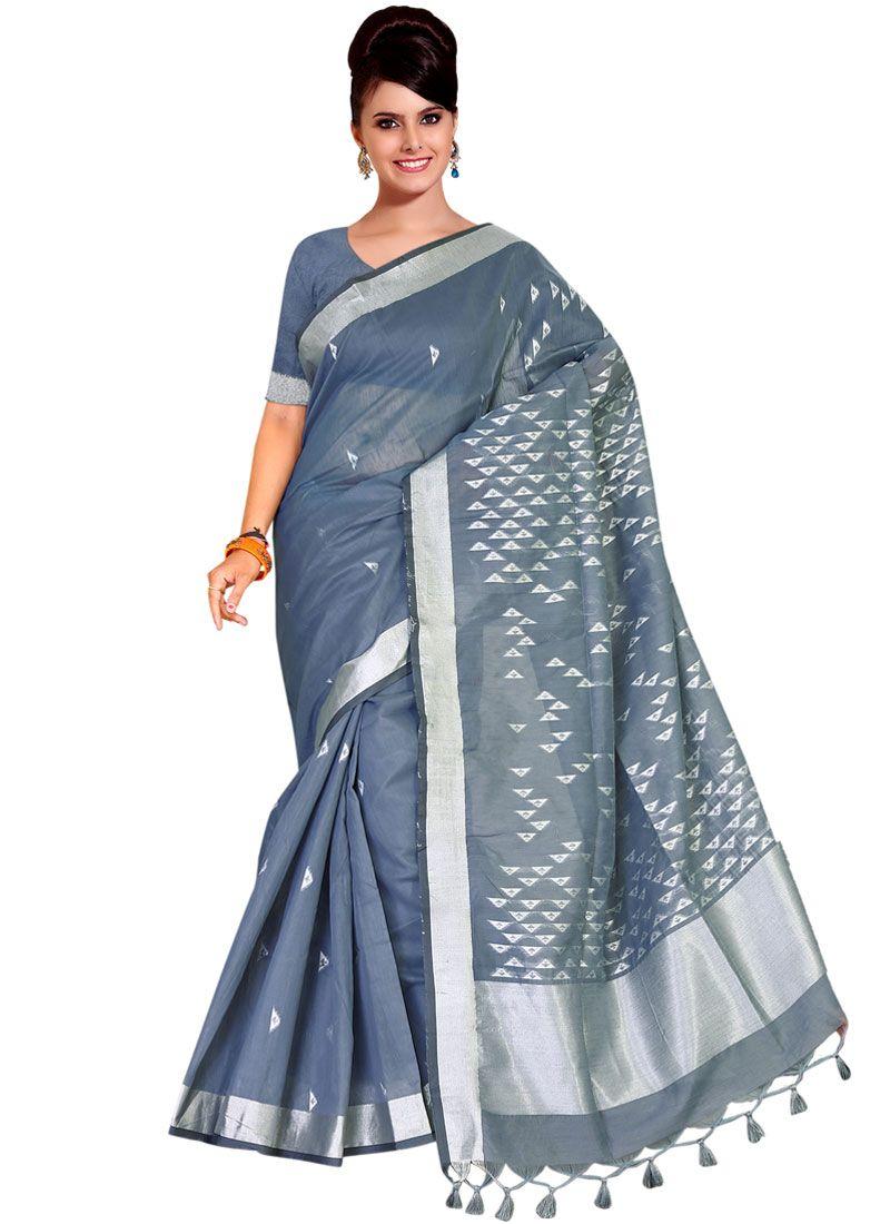 Grey Weaving Tussar Silk Traditional Saree