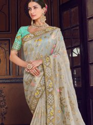 Grey Wedding Art Silk Traditional Designer Saree