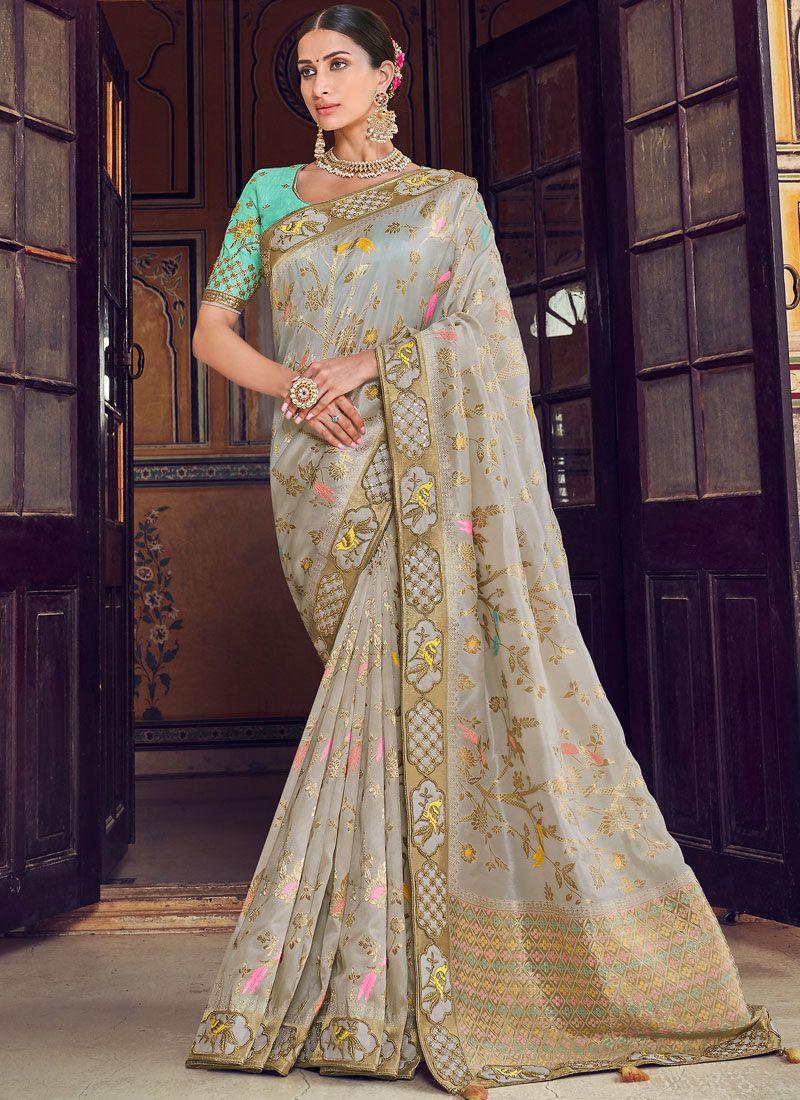 Grey Wedding Art Silk Traditional Designer Saree