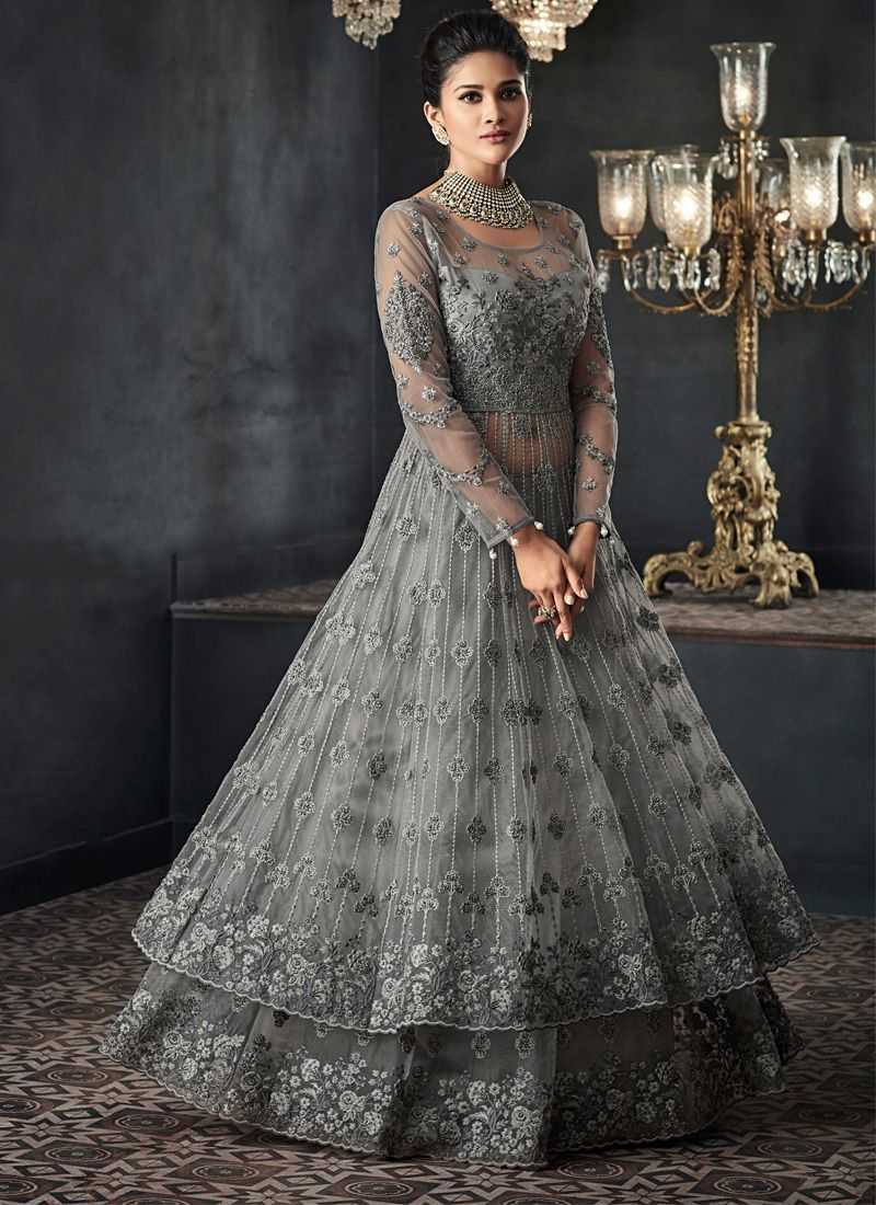 Grey Wedding Long Choli Lehenga