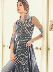 Grey Wedding Net Designer Salwar Kameez