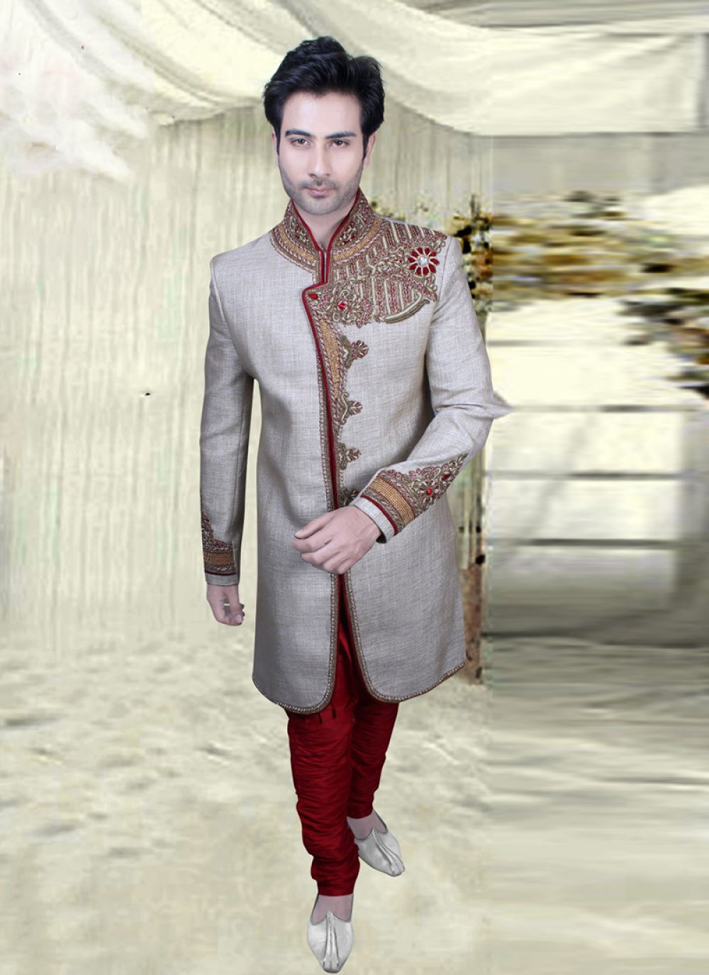 Grey Wedding Sherwani