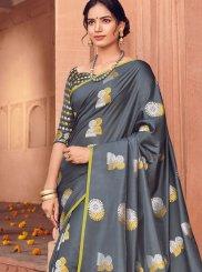 Grey Woven Art Silk Traditional Saree