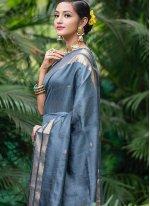 Grey Woven Ceremonial Traditional Saree