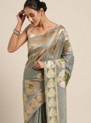 Grey Woven Linen Designer Traditional Saree