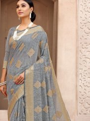 Grey Woven Traditional Saree