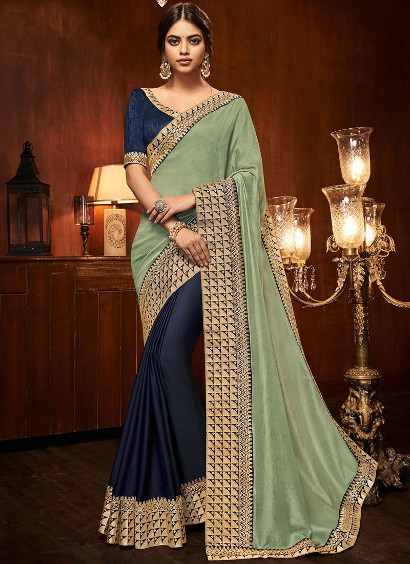 Half N Half  Saree Patch Border Art Silk in Blue and Green