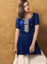 Hand Work Work Navy Blue and White Designer Suit