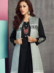 Handloom Cotton Embroidered Black Party Wear Kurti