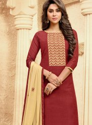 Handloom Cotton Embroidered Churidar Suit in Maroon